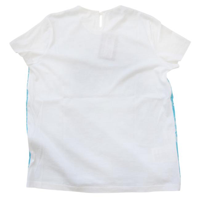 プラダ レース クルーネックTシャツ ターコイズブルー×白 #L  PRADA