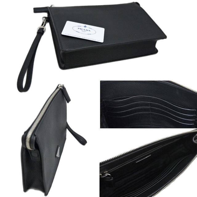 プラダ メンズ レザー クラッチバッグ 黒 PRADA