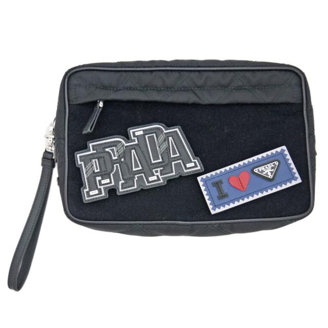 プラダ メンズ ワッペン付 ナイロンクラッチバッグ(ポーチ) 黒 2NE007 PRADA