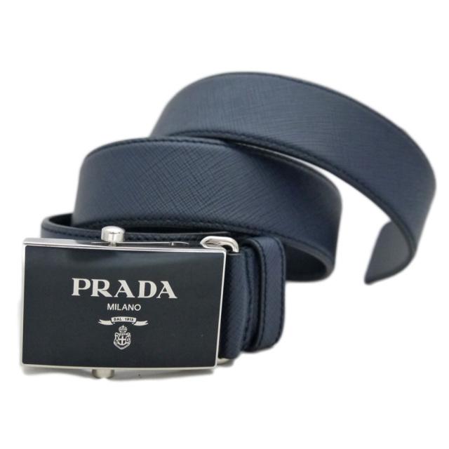 プラダ メンズ  ロゴバックルサフィアーノレザーベルト ネイビー #85 PRADA