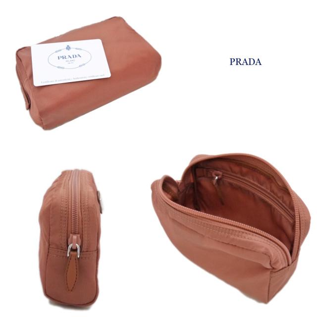 プラダ ナイロン化粧ポーチ ピンク系ブラウン(NUDO) 1NA021 PRADA