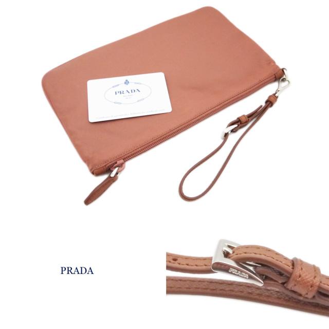 プラダ ストラップ付 ナイロンポーチ(クラッチバッグ) ピンク系ブラウン(NUDO) 1NA021 PRADA
