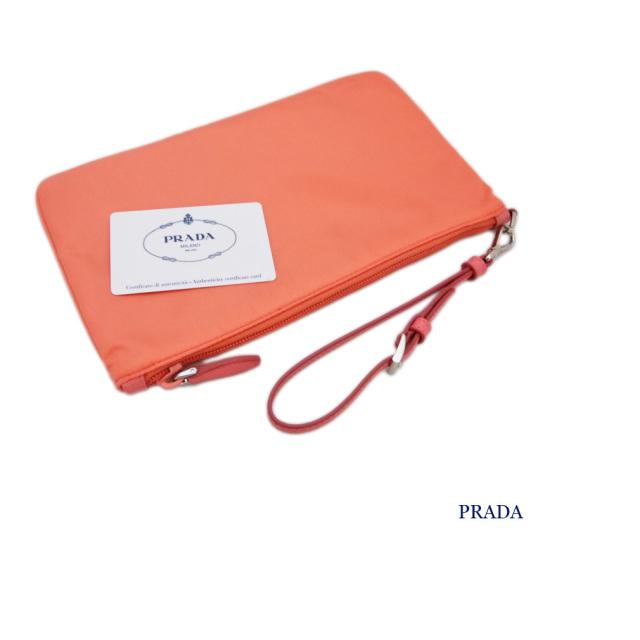 プラダ ストラップ付 ナイロンポーチ(クラッチバッグ) コーラルピンク(CORALLO) 1NH545 PRADA