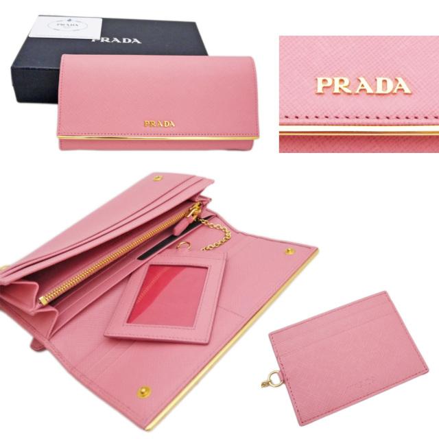 プラダ サフィアーノレザー 二つ折り長財布 ピンク(PETALO)1MH132 PRADA
