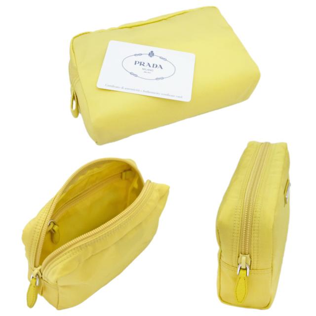 プラダ ナイロン化粧ポーチ 黄色(GINESTRA) 1NA021 PRADA