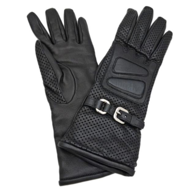 プラダ  革手袋(レザーブローブ) 黒 #6.5 PRADA