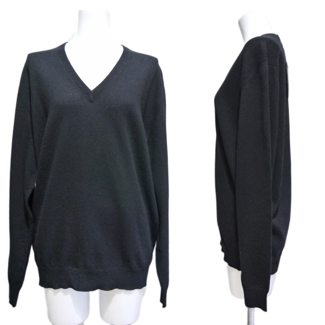 プラダ ウール Vネックセーター 黒 #42 PRADA