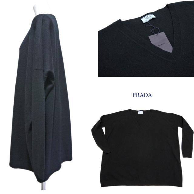 プラダ ウール Vネックゆったりセーター 黒 #38#42 PRADA