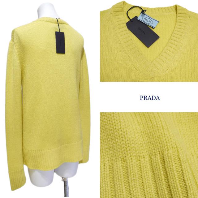 プラダ カシミア100% Vネックセーター 黄色 #38 PRADA