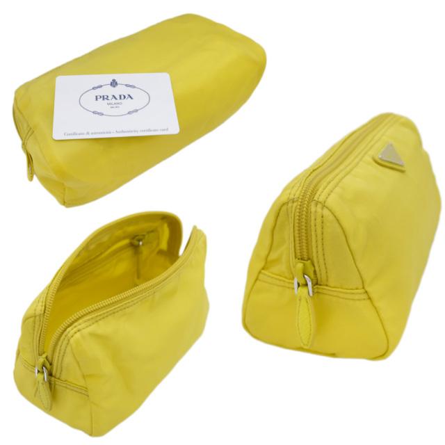 プラダ ナイロン 化粧ポーチ 1NA693 黄色(GIRASOLE) PRADA
