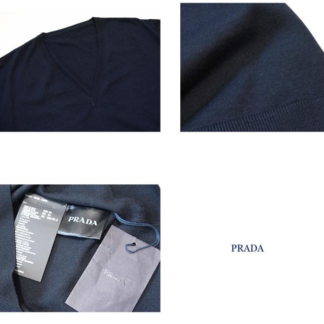 プラダ メンズ Vネック薄手ウールセーター ネイビー #56  PRADA