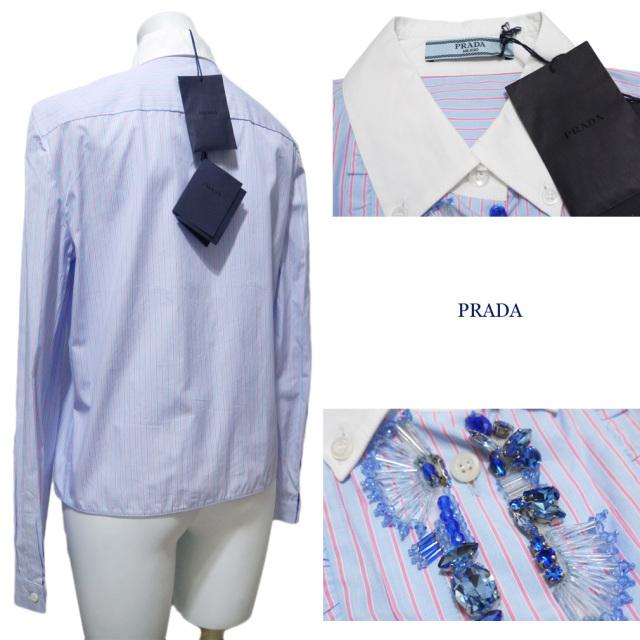 プラダ ビジュー ストライプシャツブラウス ブルー #38 PRADA