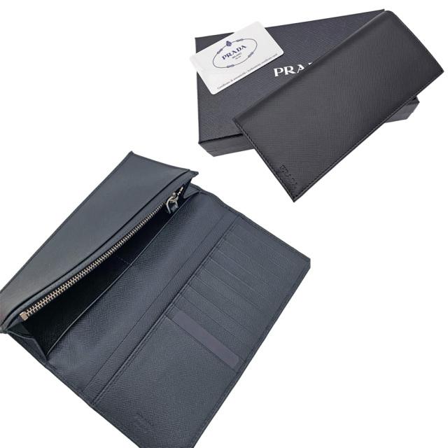 プラダ メンズ  サフィアーノレザー二つ折り長財布 黒  2M0836 PRADA