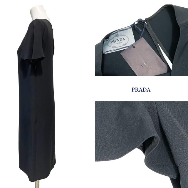 プラダ ブラックフォーマル 半袖ワンピース 黒 #36 PRADA
