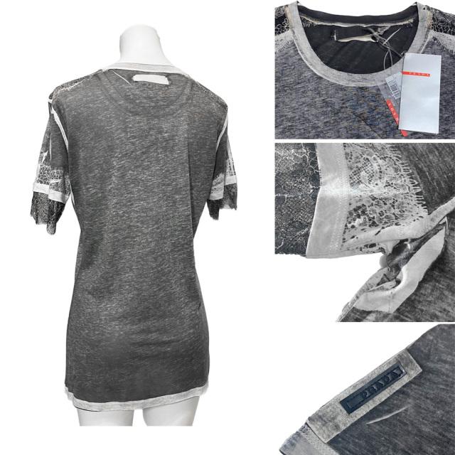 プラダ クルーネック レースTシャツ(カットソー) グレー #M PRADA