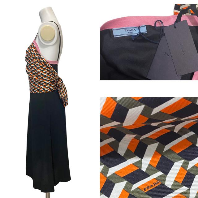 プラダ 幾何学プリントシルクスカーフ ワンピース 黒 #38 PRADA