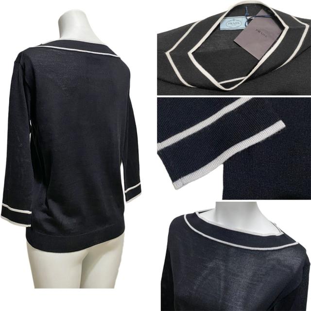 プラダ ウール×シルク ボートネックセーター 黒 #36 PRADA