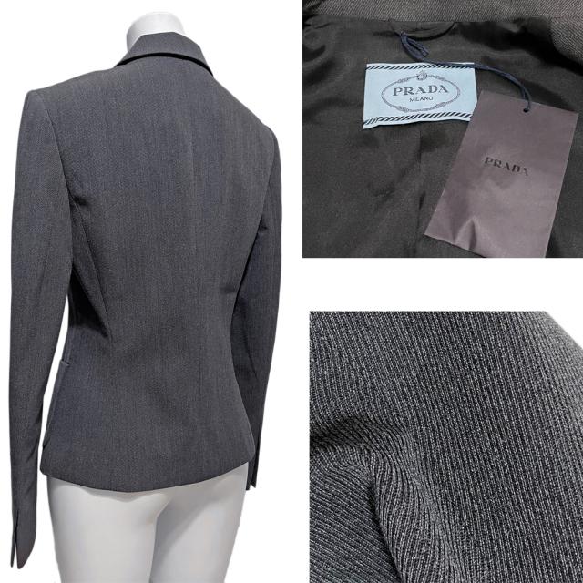 プラダ シンプル ウール テーラードジャケット グレー #40 PRADA