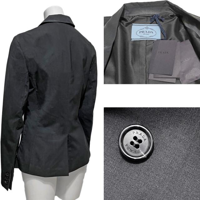 プラダ 薄手ウール テーラードジャケット グラデーションブラック #38 #40 PRADA