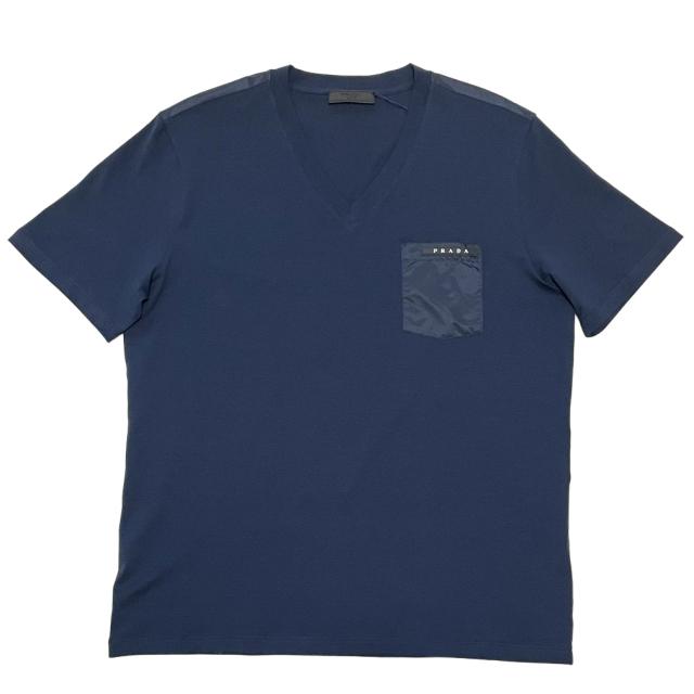 プラダ メンズ 異素材mix VネックTシャツ ネイビー #L #XXL  PRADA