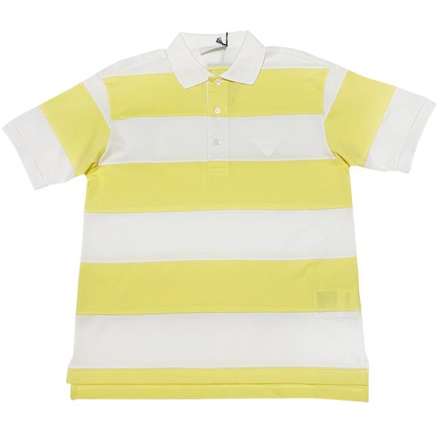 プラダ メンズ 鹿の子 ポロシャツ ボーダー イエロー #S #M #L  PRADA