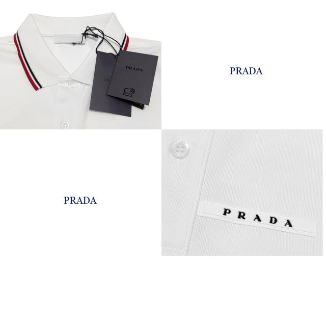 プラダ メンズ 定番 鹿の子 半袖ポロシャツ 白 #XL #XXXL  PRADA