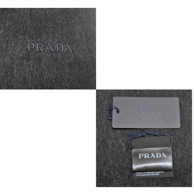 プラダ メンズ  カシミア混 フリンジマフラー チャコールグレー PRADA