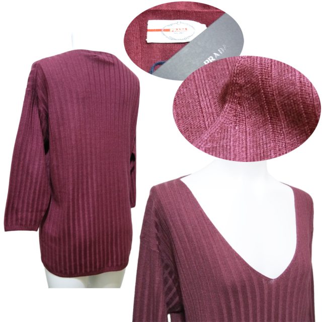 プラダ Vネック リブニットセーター 七分袖 ウール ワイン #40 PRADA
