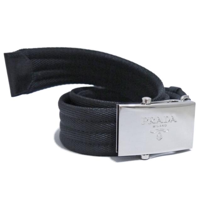 プラダ メンズ ロゴバックル ナイロンベルト 黒 #90 PRADA