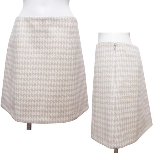プラダ チェック柄 Aラインスカート ベージュ×白 #40 PRADA