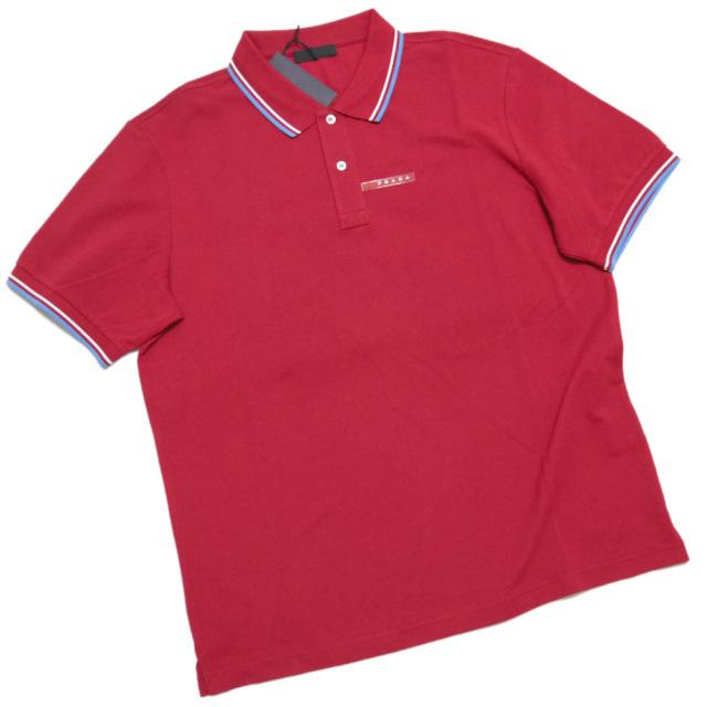 プラダ メンズ 定番 鹿の子 半袖ポロシャツ 赤 #XXXL PRADA