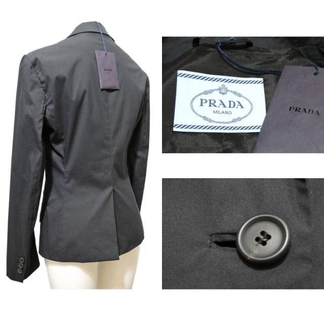 プラダ コットン テーラードジャケット 黒 #38 PRADA