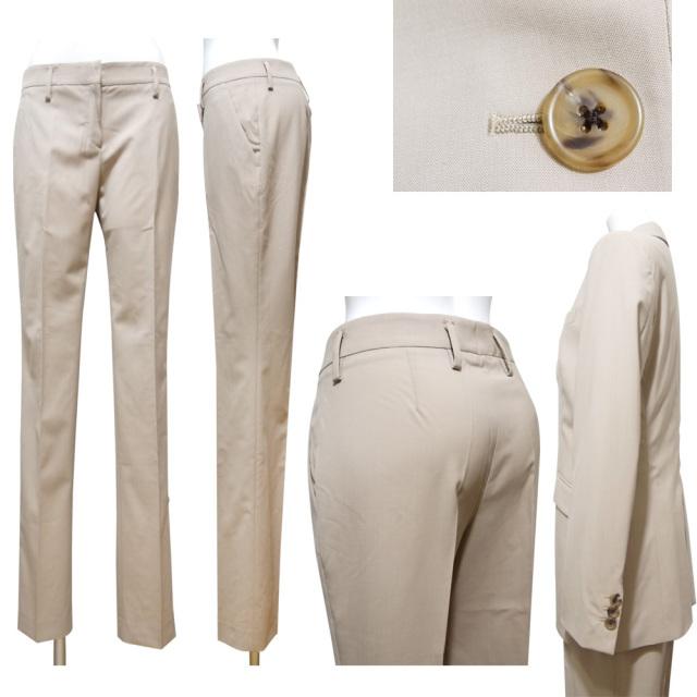 プラダ シンプルなパンツスーツ ベージュ #38 PRADA