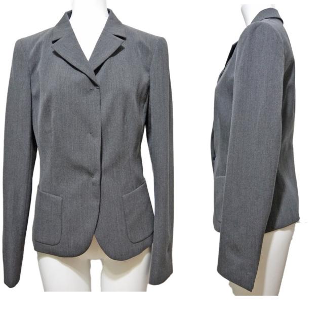 プラダ シンプル ウール ジャケット グレー #40 PRADA