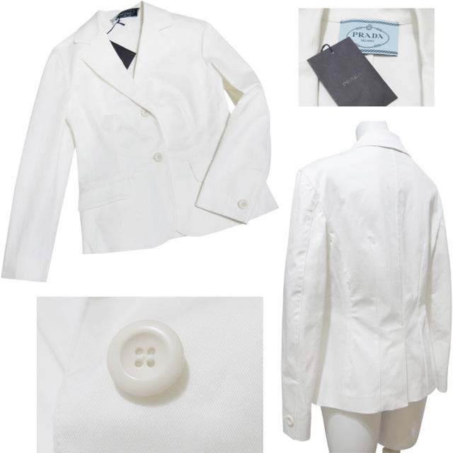 プラダ コットン テーラードジャケット 白 #42 PRADA