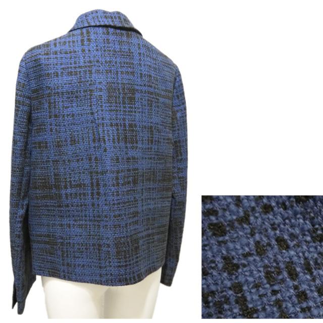プラダ 上品なツイードジャケット 紺 #42 PRADA