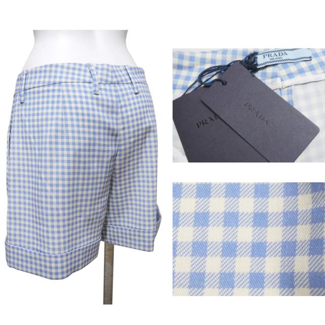 プラダ ギンガムチェック ショートパンツ ブルー×白 #38 PRADA