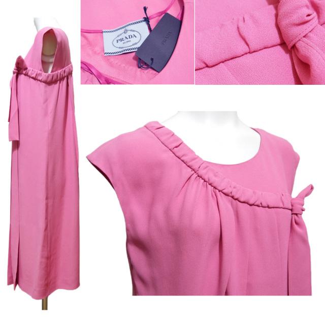プラダ リボン&プリーツ 華やかなワンピース ピンク #40S PRADA