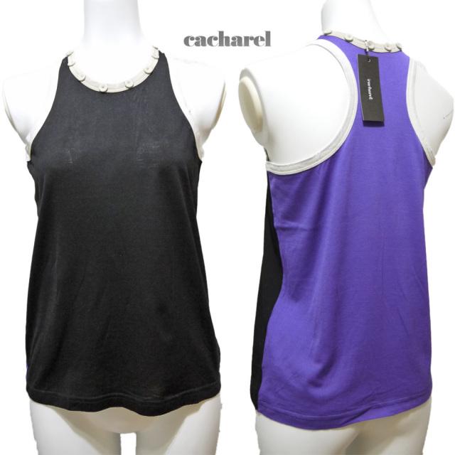 キャシャレル バイカラー タンクトップ 黒×紫 #1 (cacharel)