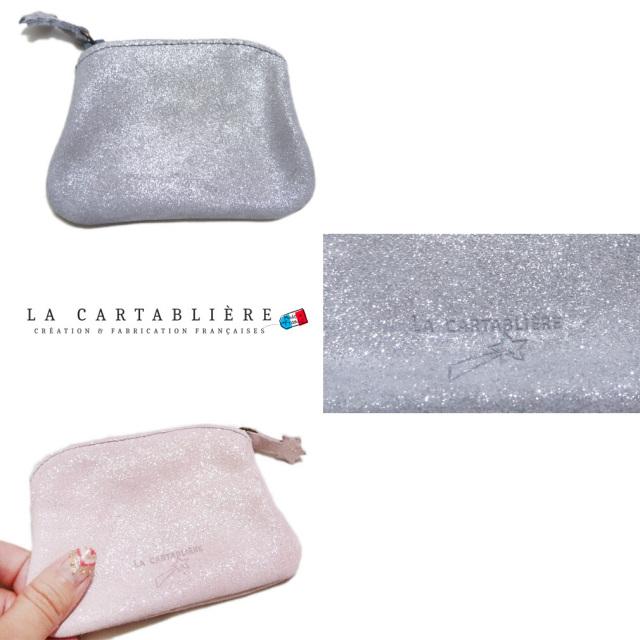 ラカルタブリエ フランス製 きらきらスエード マチなしポーチ #S  LA CARTABLIERE