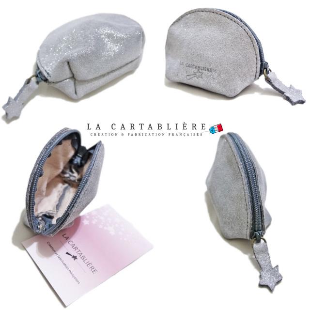 ラカルタブリエ フランス製 きらきらスエード 半円ポーチ #S  LA CARTABLIERE