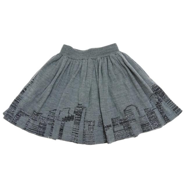 トリア 東京の夜景 フレアーが可愛い ニットスカート グレー #M triaa