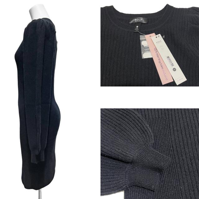 アクアカシミア カシミア100% パフスリーブ ニットワンピース 黒 #XS AQUA Cashmere