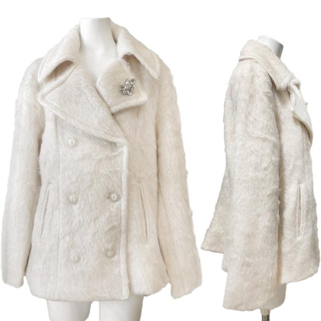 コスミカ イタリア製 シャギーモヘア ジャケットコート オフホワイト #L kosmika