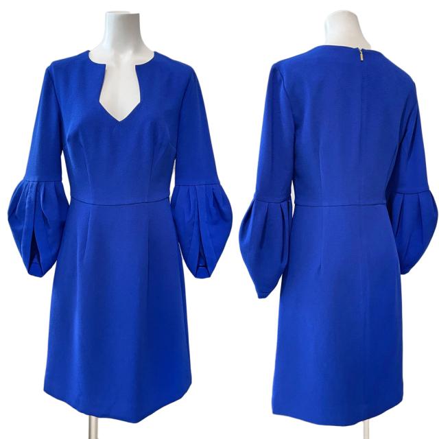 新品トリーナタークTRINA TURKパフスリーブ七分袖ワンピース ブルー#0#2