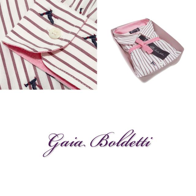 ガイアボルデッティー イタリア製 ストライプ&刺繍 シャツブラウス 白×ボルドー #40  Gaia Boldetti