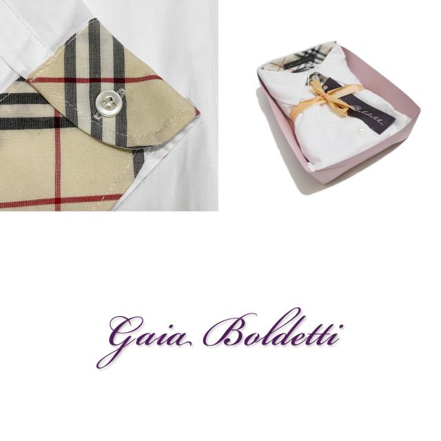 ガイアボルデッティー イタリア製 チェック柄 シャツブラウス 白 #40 #42  Gaia Boldetti