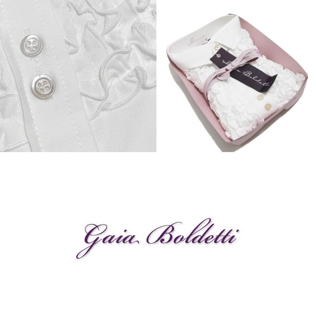 ガイアボルデッティー イタリア製 オックスフォード生地 フリル シャツブラウス 白 #40 #42  Gaia Boldetti