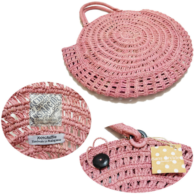 Sans Arcide 丸い形が可愛い アンモナイトかごバッグ(NOVA) ピンク/ナチュラル サンアルシデ