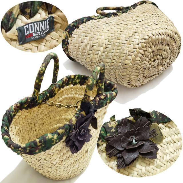 CONNIE NO BRAND イタリア製 かごバッグ 迷彩×ナチュラル コニーノブランド